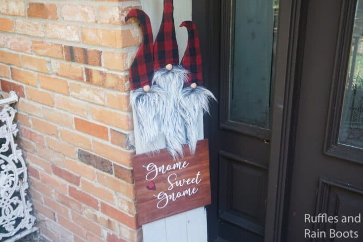 Make This Gnome Sweet Gnome Porch Sign with Free Gnome SVG