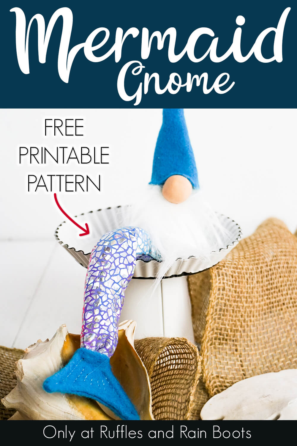 simple gnome pattern for a mermaid gnome on a white background with text which reads mermaid gnome free printable pattern