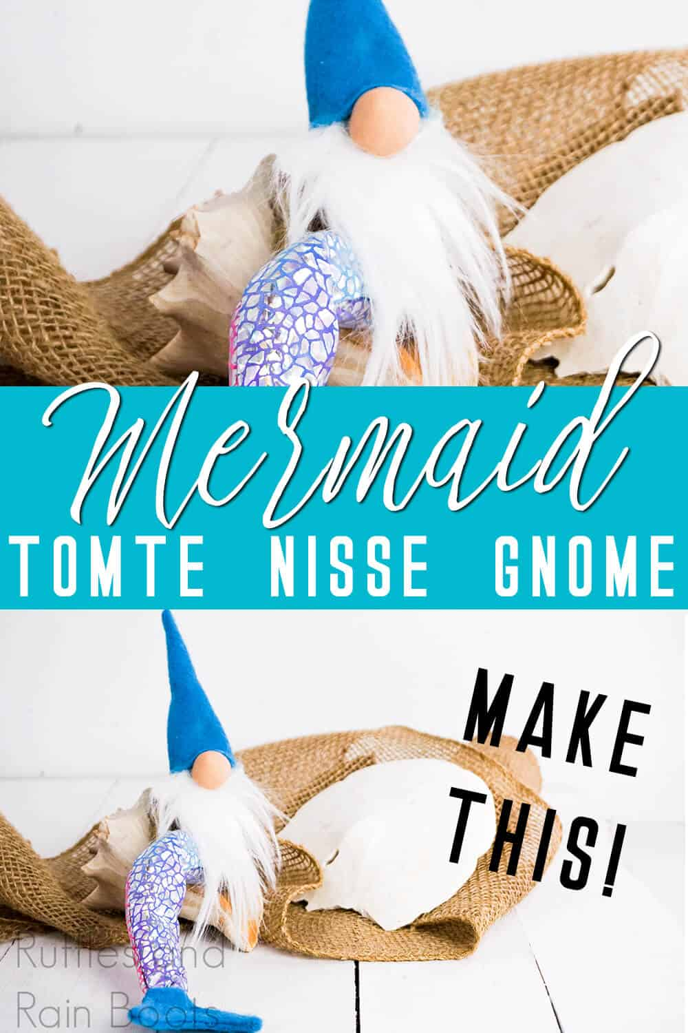 photo collage of small scandinavian tomte with text which reads mermaid tomte nisse gnome make this