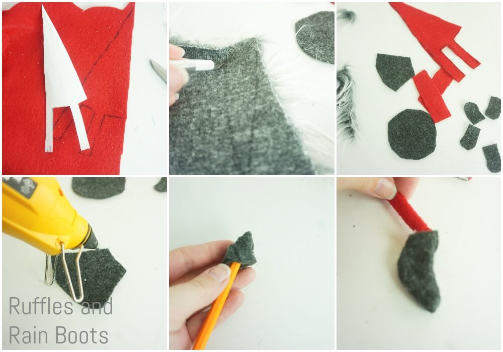 photo collage tutorial of how to make a gnome on a wreath