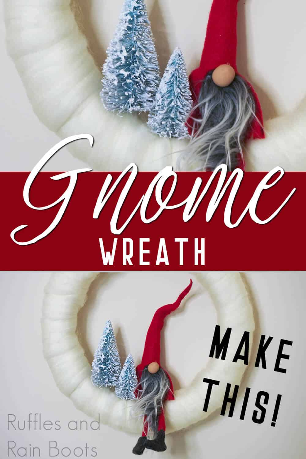 tomte with text which reads gnome wreath make this