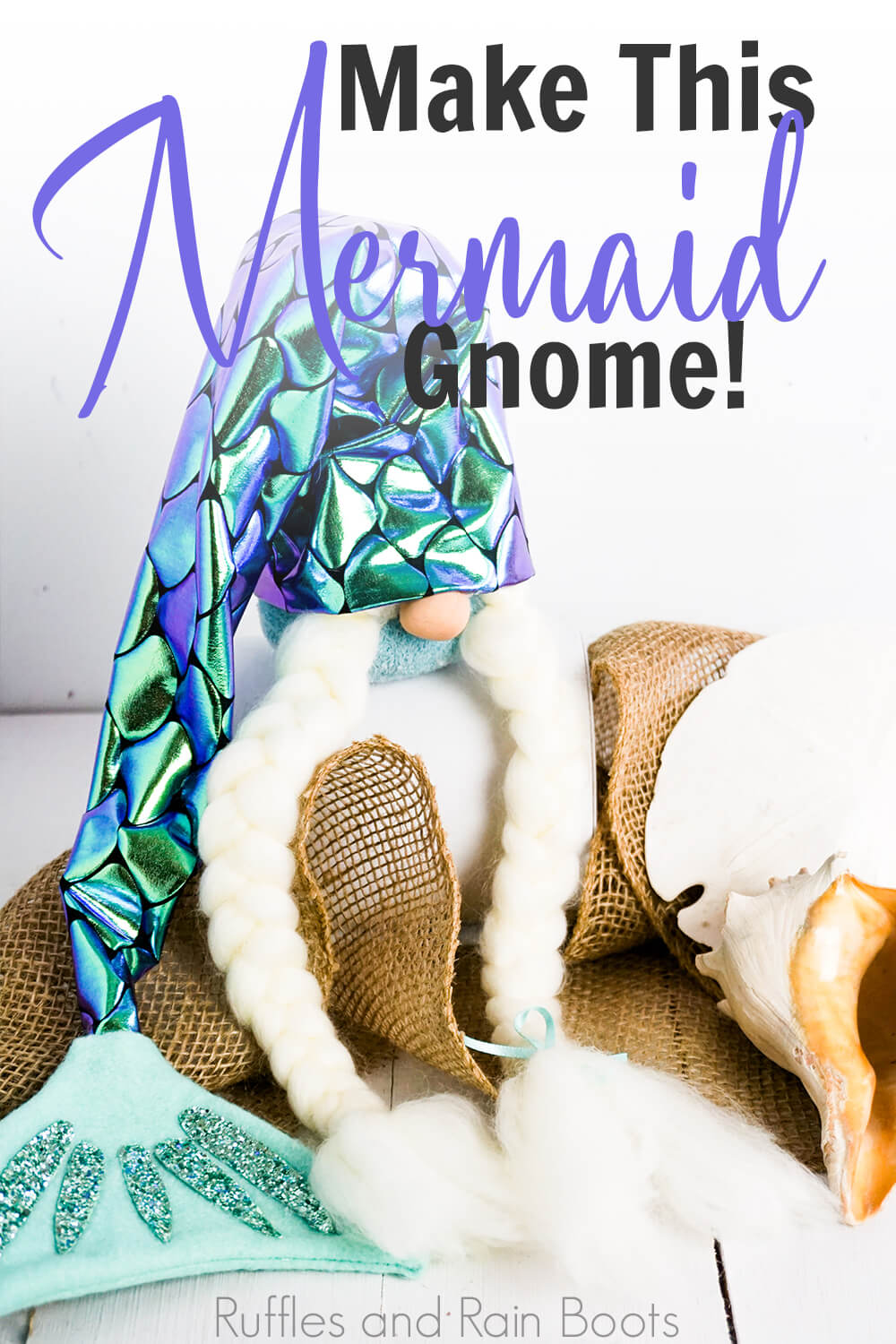 swedish gnome mermaid on a white background with text which reads make this mermaid gnome