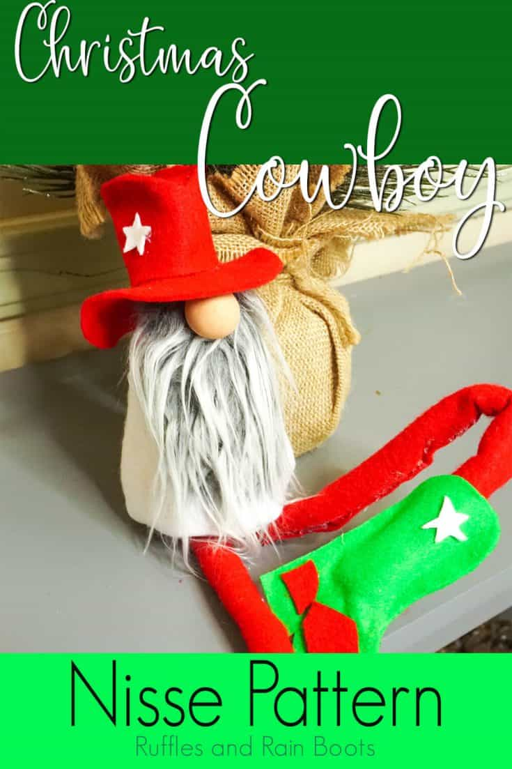 This Christmas cowboy gnome is so adorable! I definitely need to make this Christmas gnome today. Click here to get the free christmas gnome pattern now! #christmascowboygnome #cowboygnome #christmasgnome #rufflesandrainboots