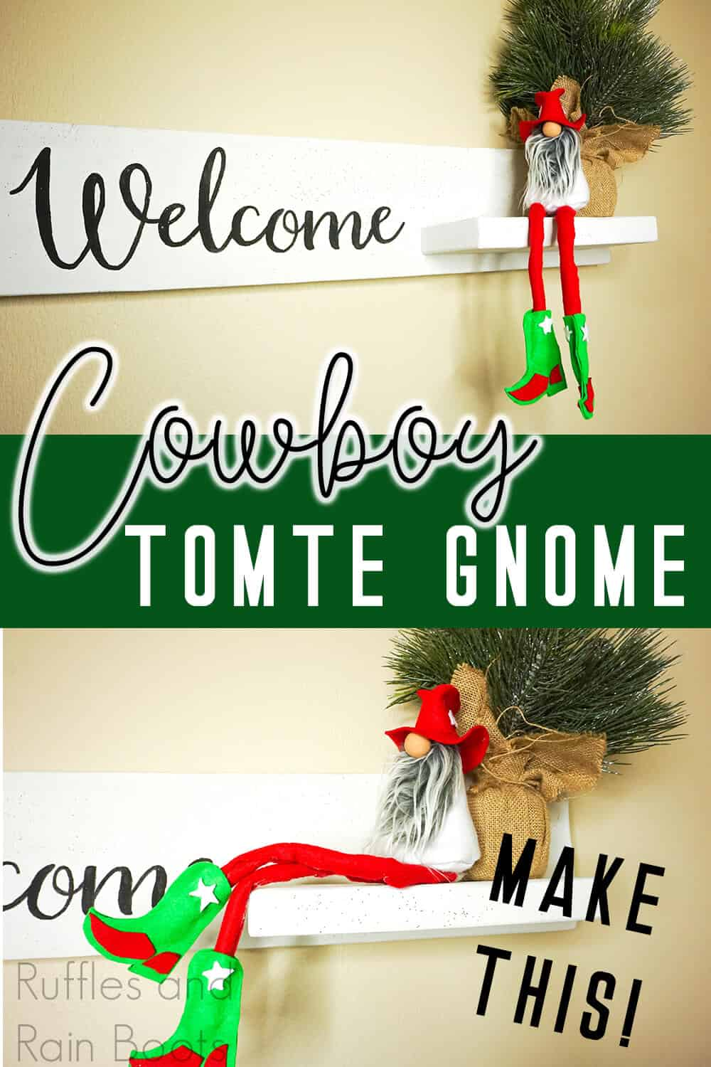 photo collage of christmas gnome with a cowboy hat with text which reads cowboy tomte gnome
