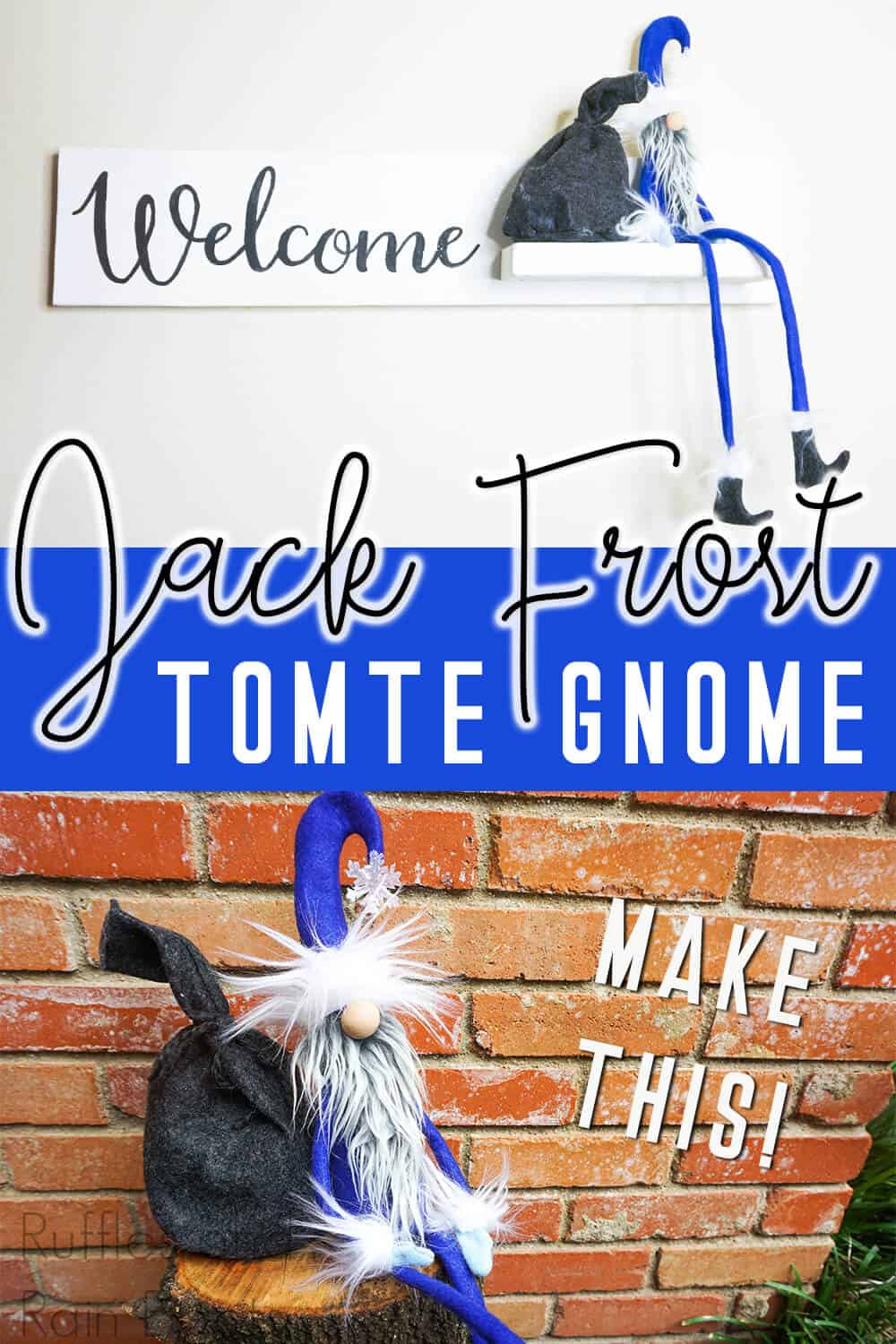 photo collage of winter gnome with text which reads jack frost tomte gnome make this!