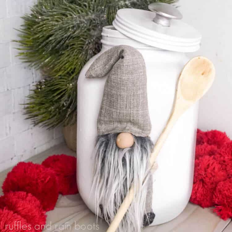 Make a Gnome Cookie Jar on a grey wood table