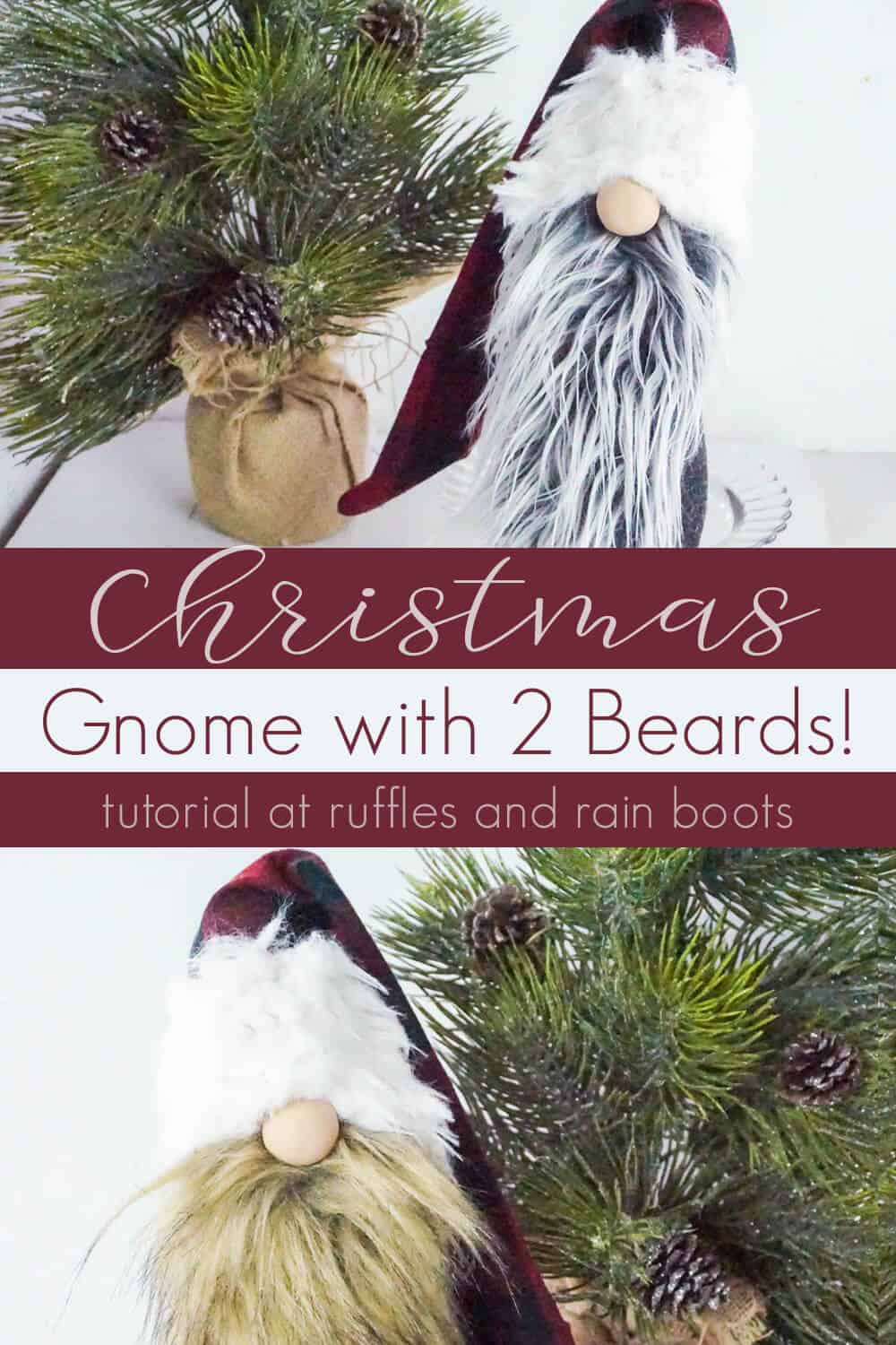 photo collage of how to make a Christmas gnome with 2 beards with text which reads christmas gnome with 2 beards!
