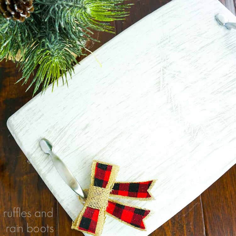 Christmas Carved Tray Craft on a dark wood background