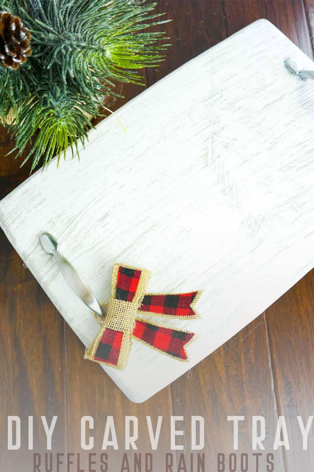 DIY Carved Tray for Christmas on a dark wood background with text which reads DIY Carved Tray