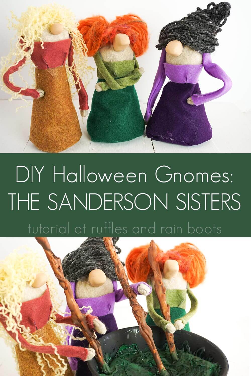 photo collage of DIY Hocus Pocus Halloween Gnomes with text which reads DIY halloween gnomes the sanderson sisters
