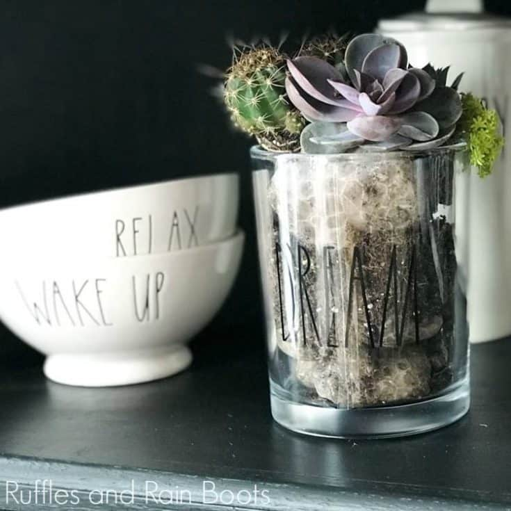 Rae Dunn Candle Repurpose on a black counter