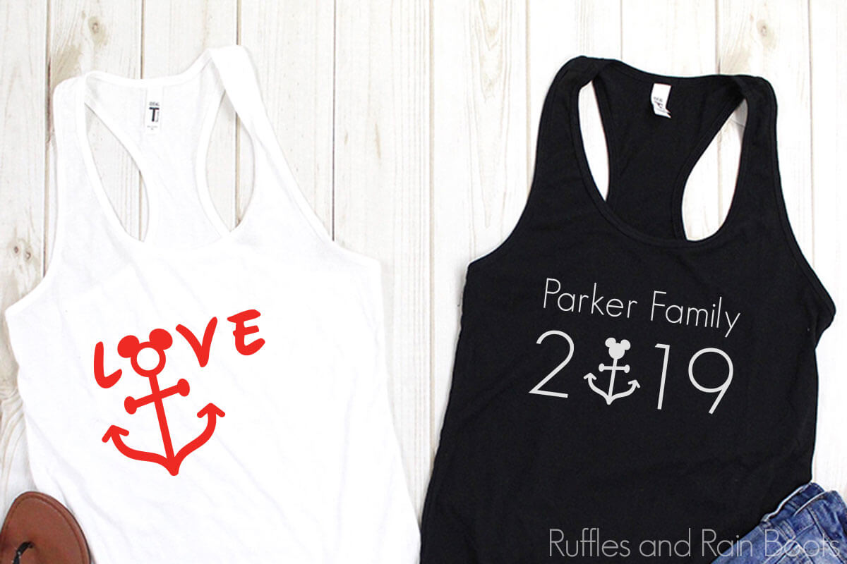Disney Cruise SVG for Cricut on a black and white tank top on a white background