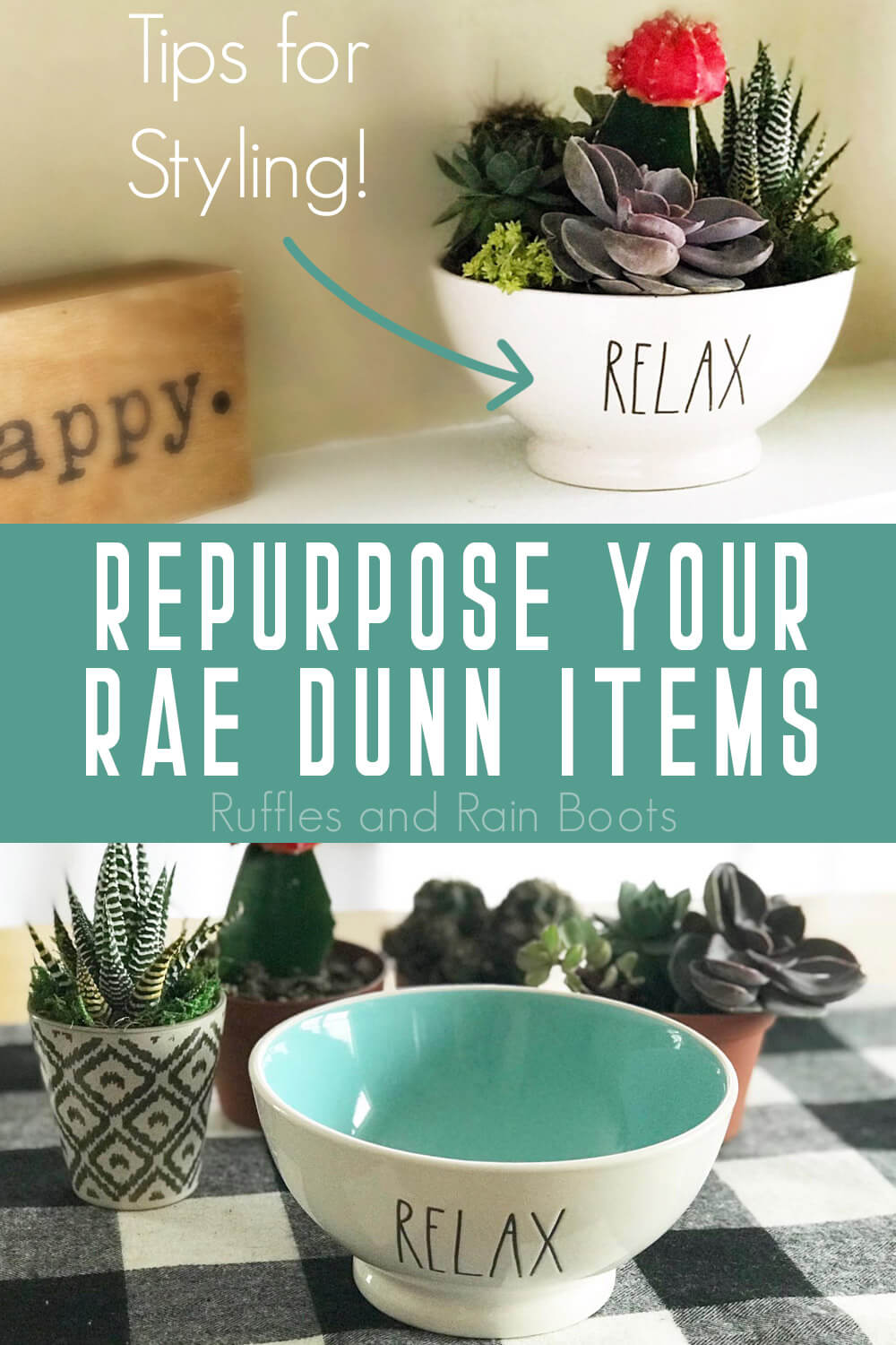 photo collage of rae dunn upcycle projects, Ways to Style Rae Dunn Pieces in Your Home with text which reads repurpose your rae dunn items