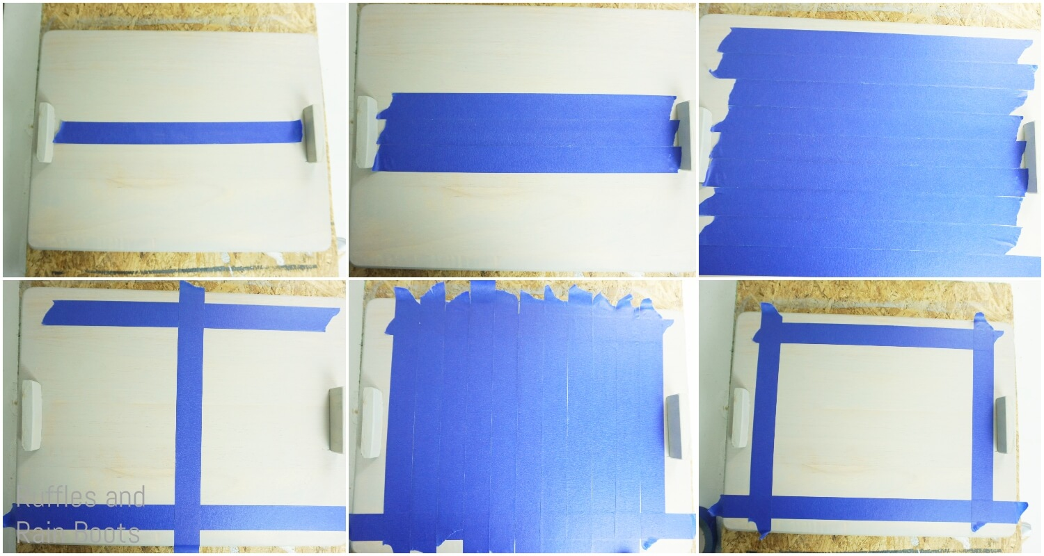 photo tutorial of how to paint buffalo check pattern on a christmas serving tray