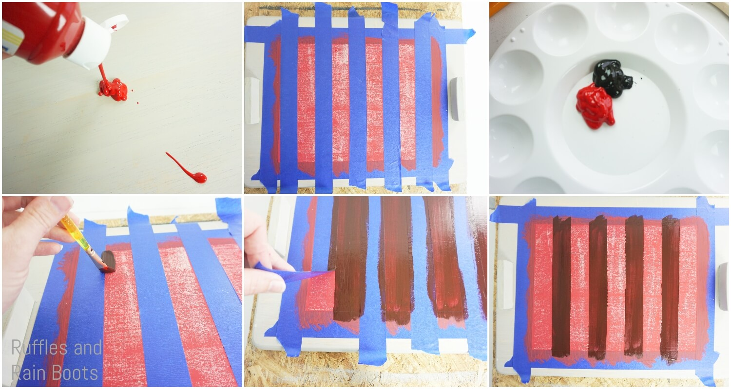photo tutorial of how to paint buffalo check pattern on a cutting board to make a serving tray