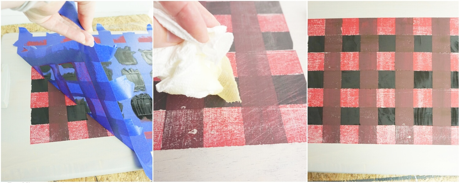 photo tutorial of how to paint red plaid pattern on an upcycled cutting board for a christmas tray