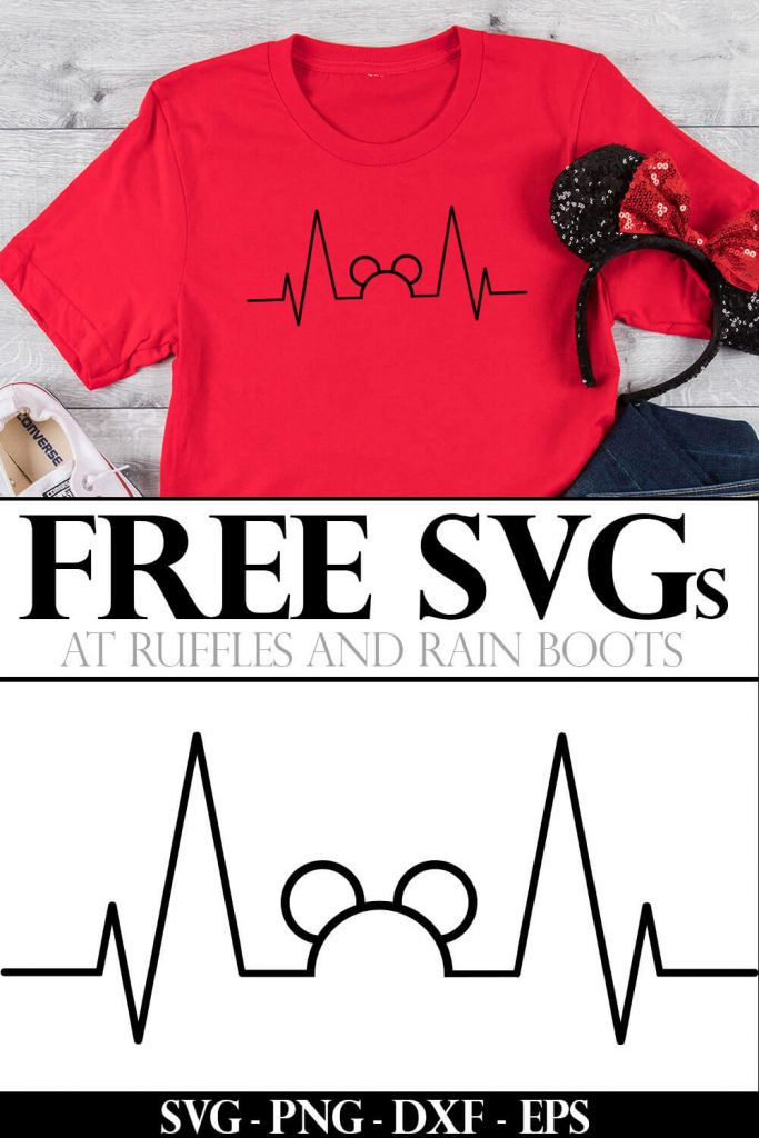 photo collage of Free SVG for Disney Mickey Heartbeat with text which reads free SVGs