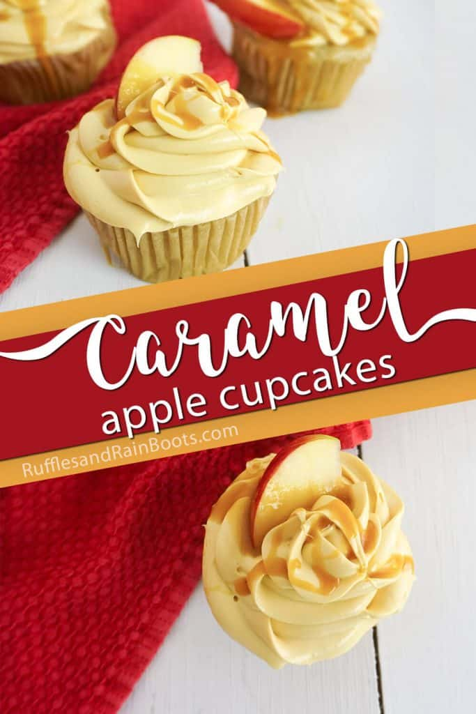photo collage of homemade caramel cupcakes with text which reads caramel apple cupcakes