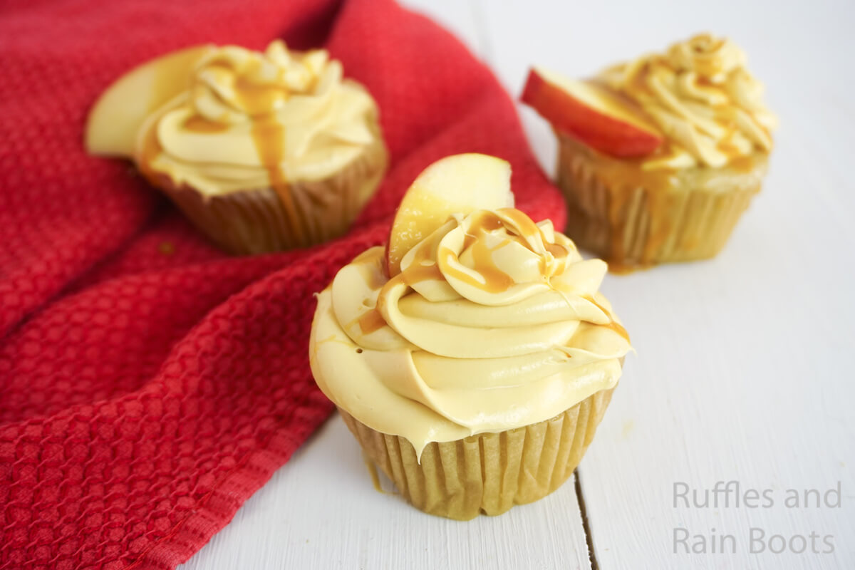 side view of how to make caramel apple cupcakes for a fall party