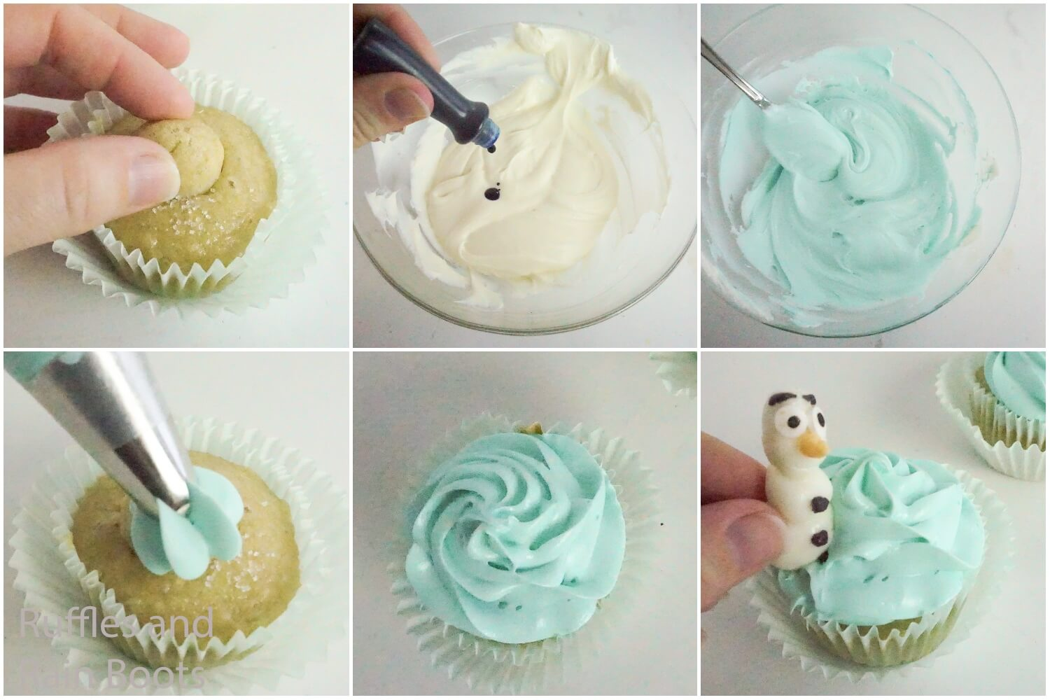 photo collage tutorial of how to make frozen cupcakes with olaf