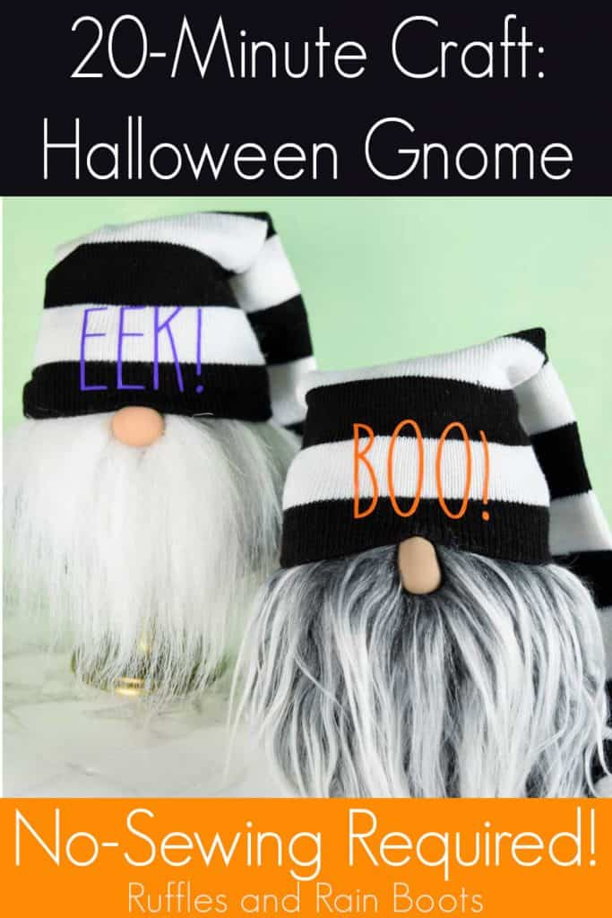 Halloween Sock Gnome Tutorial on a marble table with a light green background with text which reads 20-minute craft halloween sock gnome no-sewing required!