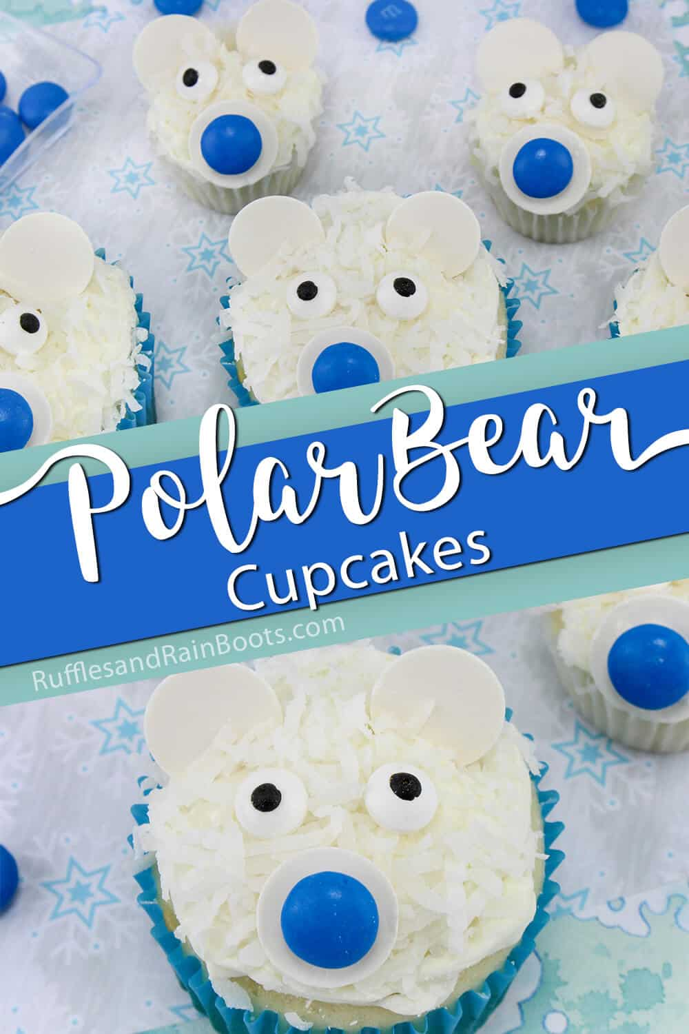 recipe for polar bear cupcakes with text which reads polar bear cupcakes