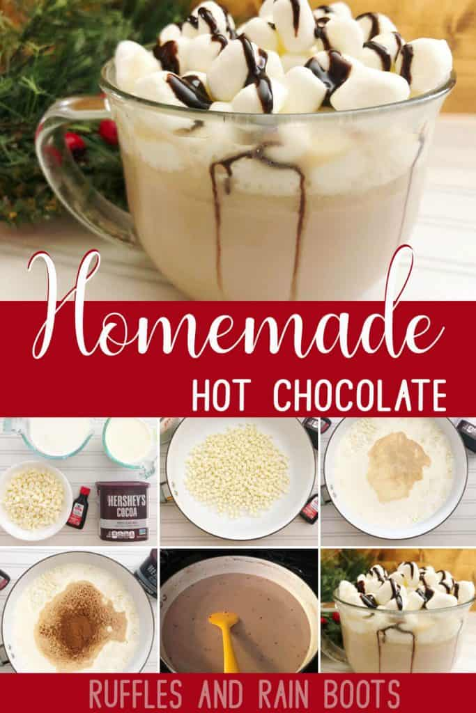 photo collage tutorial of Easy Recipe for Homemade Hot Chocolate with text which reads homemade hot choclate