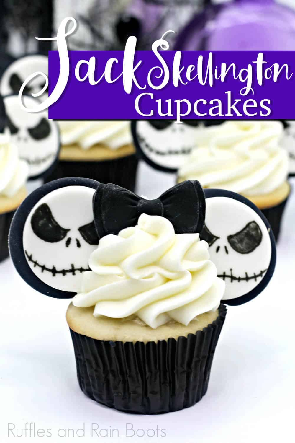 closeup of nightmare before christmas cupcakes with text which reads jack skellington cupcakes