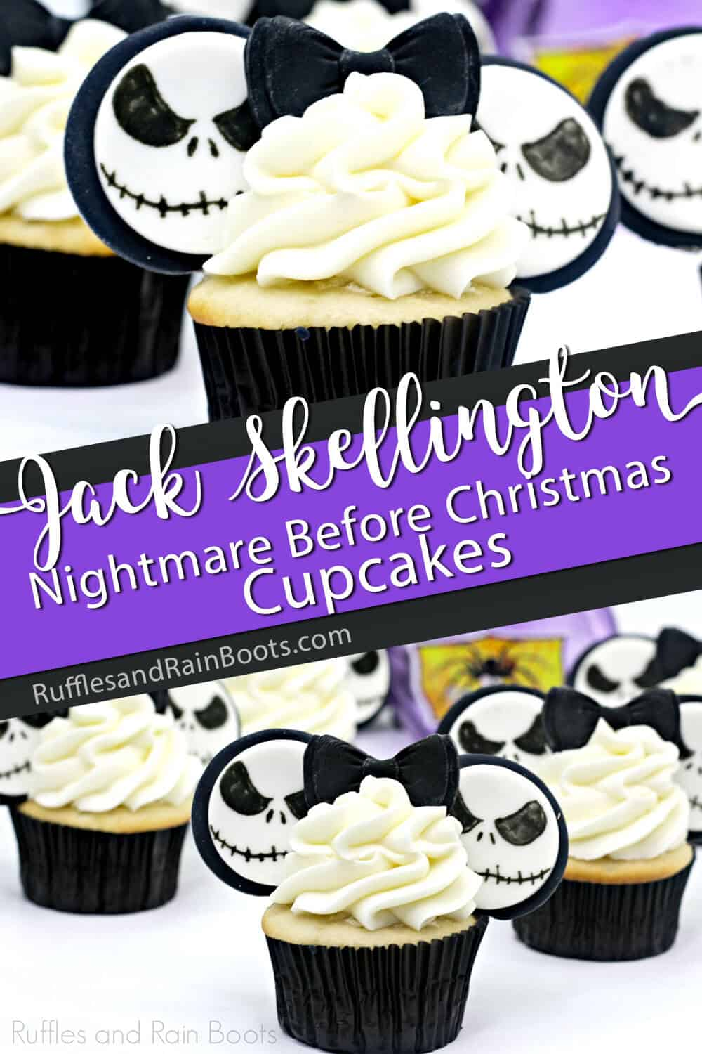 photo collage of easy Jack Skellington cupcakes for a halloween party with text which reads jack skellington nightmare before christmas cupcakes