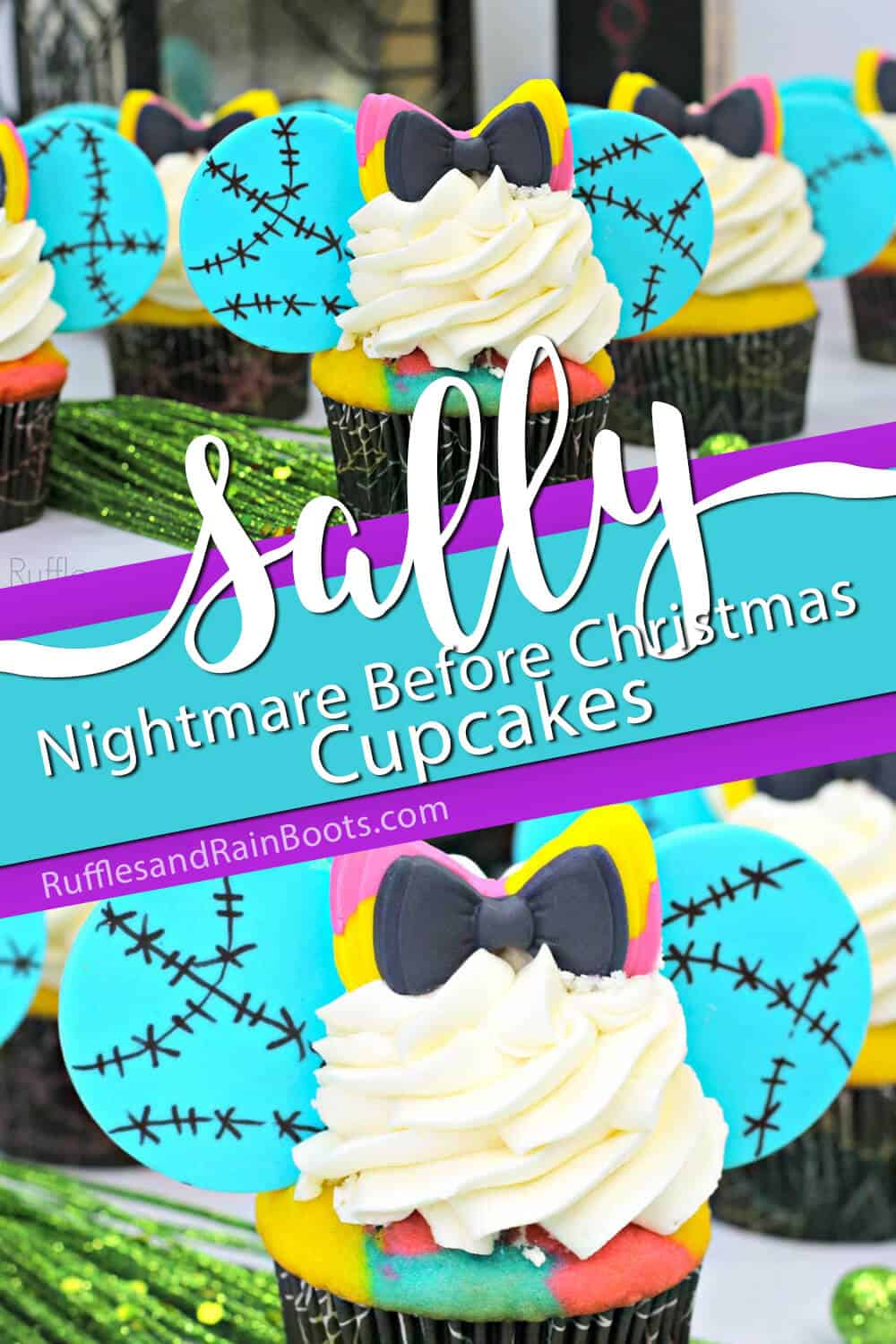 photo collage of sally cupcakes with text which reads sally nightmare before christmas cupcakes
