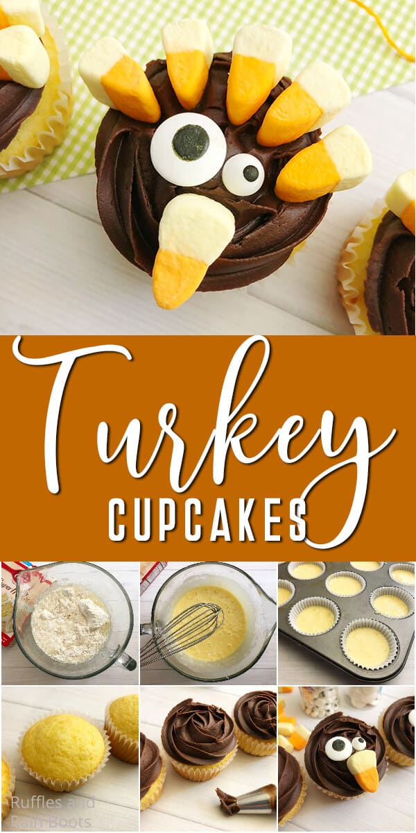 photo collage of thanksgiving cupcakes for kids with text which reads recipe for turkey cupcakes