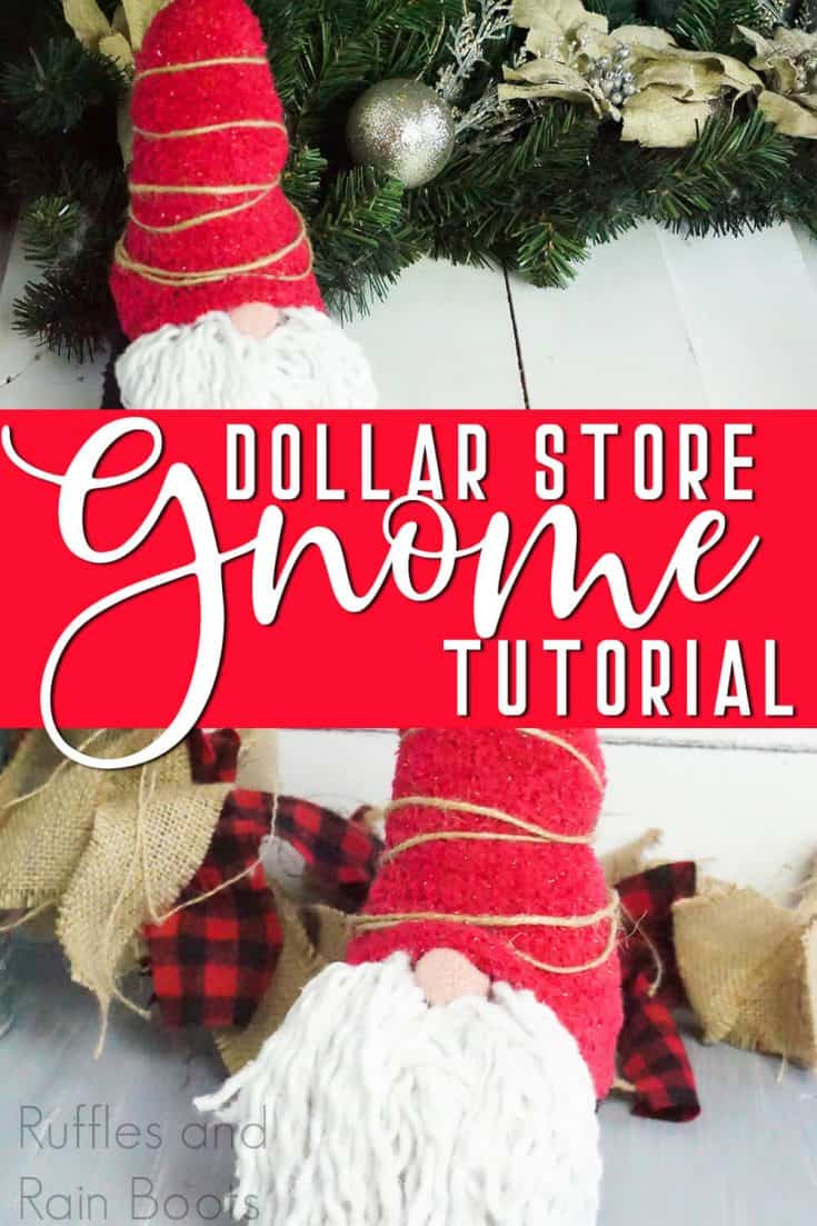 I love how easy this Dollar Store gnome is! It only cost 5 dollars in materials she purchased at the Dollar Store. I can't wait to make my own Scandinavian gnome from the Dollar Store! #dollarstoregnome #diygnome #tomte #nisse #nisser #gnome #christmasgnome #rufflesandrainboots