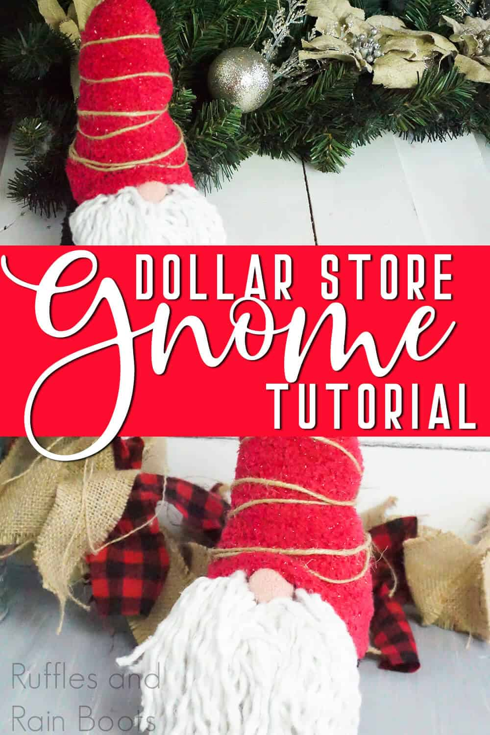 photo collage of a DIY christmas gnome with text which reads dollar store gnome tutorial for christmas