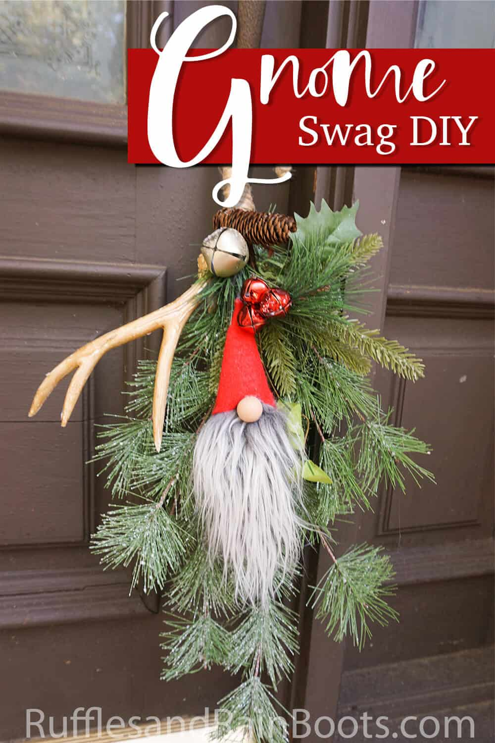 close up of door hanger for christmas with text which reads gnome swag diy