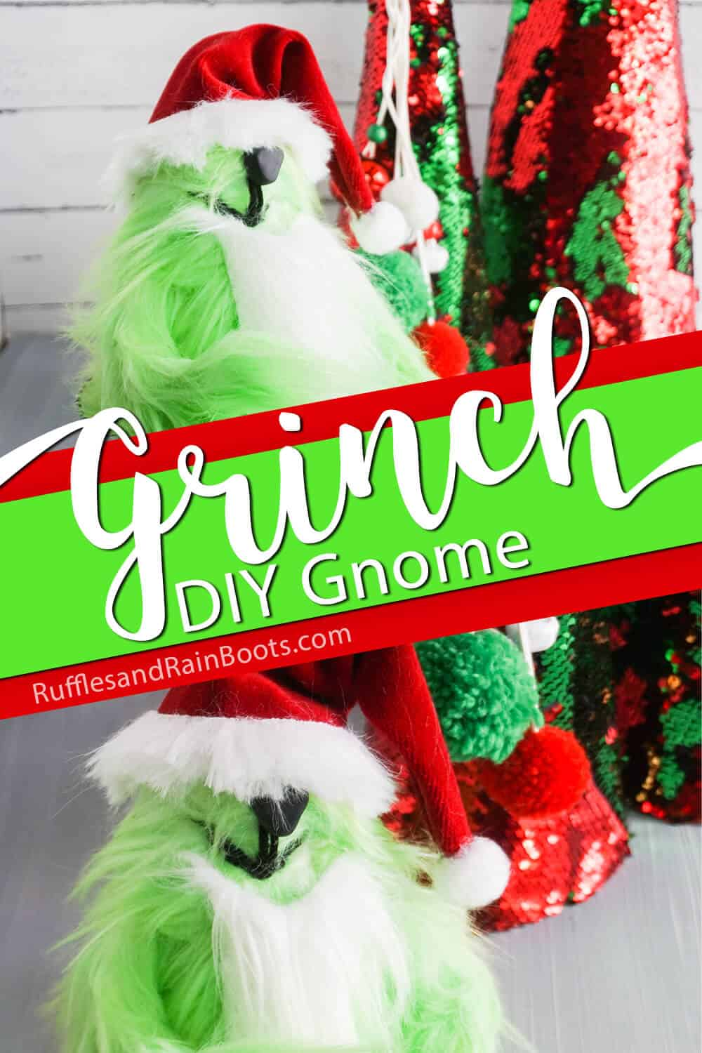 photo collage of a grinch gnome with text which reads grinch diy gnome