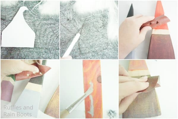 photo collage tutorial of how to paint a gnome on a wood block