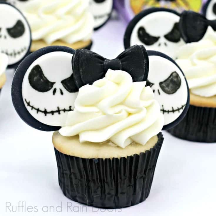 Nightmare Before Christmas Jack Skellington cupcake on white background with Halloween props