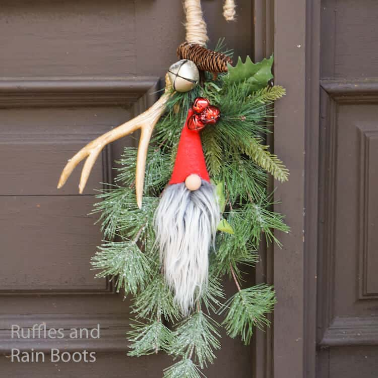 how to make a christmas door hanger with bells and a gnome