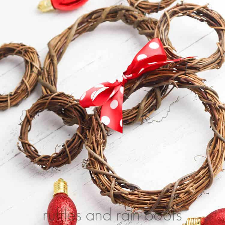 DIY Mickey Mouse Wreath Minnie Mouse Wreath on a white wood background