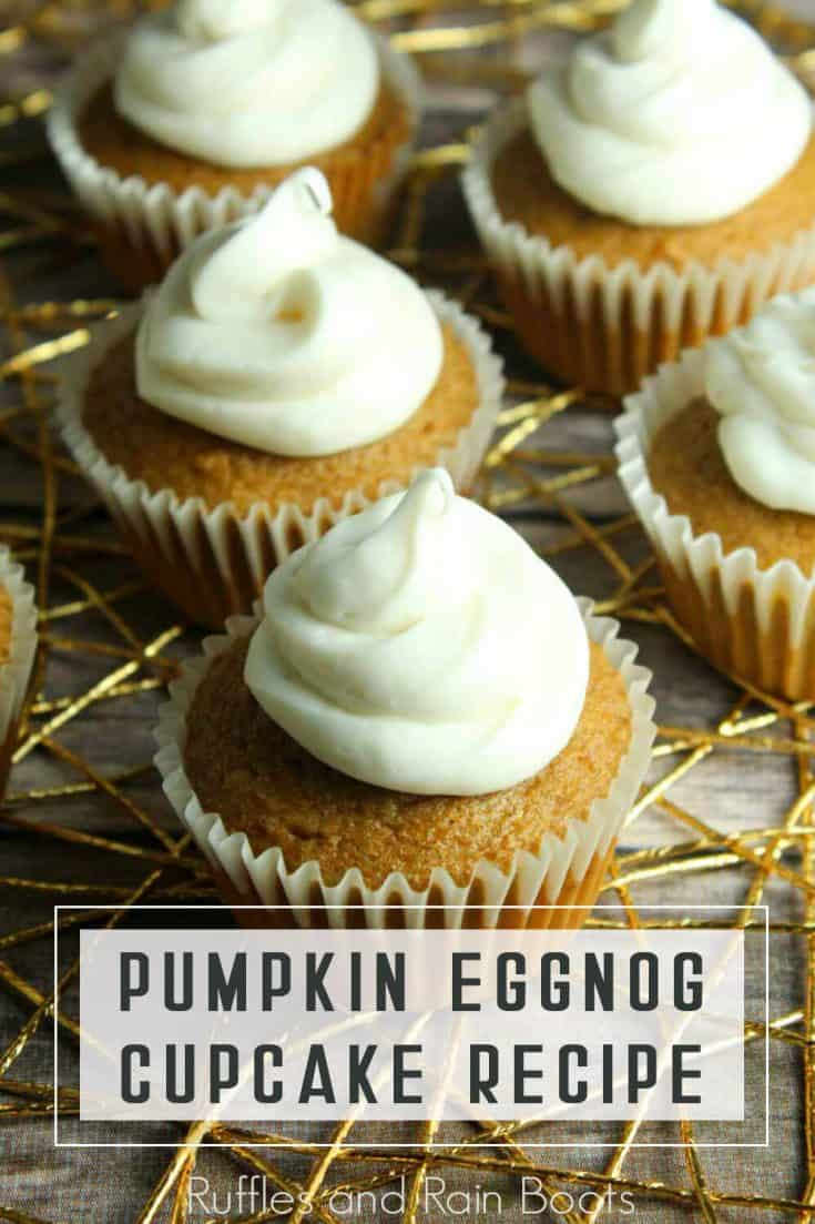 Oh. My. Yum. These pumpkin eggnog cupcakes sound divine. And such a simple holiday cupcake recipe, too. Click through to get the easy recipe and see how she makes these fall cupcakes in minutes! #pumpkincupcakes #eggnogcupcakes #pumpkineggnogcupcakes #holidaycupcakes #rufflesandrainboots