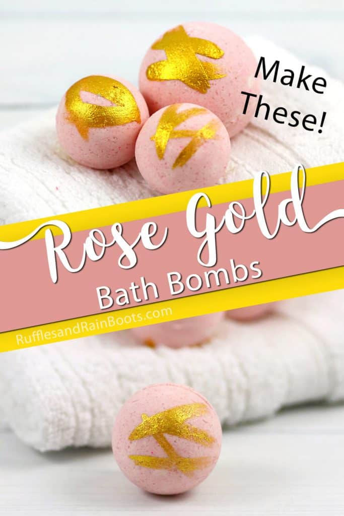 photo collage of millennium pink bath bombs with text which reads make these rose gold bath bombs