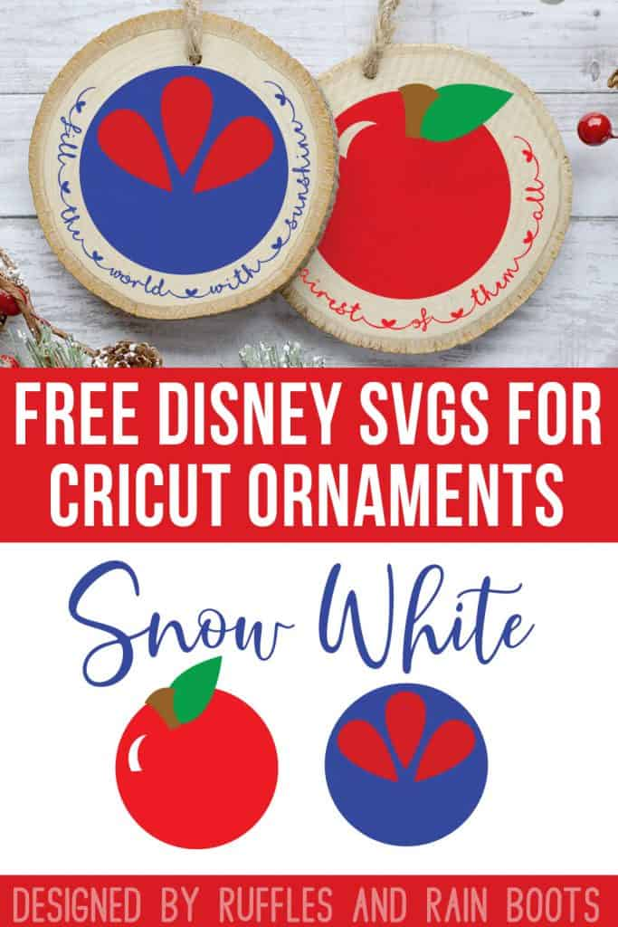 Snow White Cut Files Free Disney SVG with text which reads free disney svgs for cricut ornaments