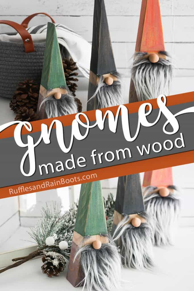 photo collage of easy tutorial for gnomes with text which reads gnomes made from wood