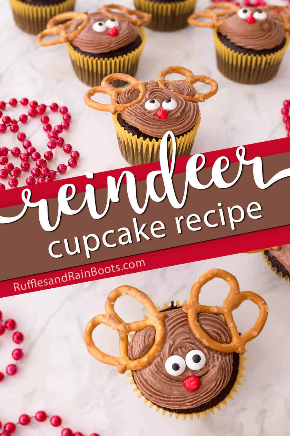photo collage of cupcakes look like reindeer with text which reads reindeer cupcake recipe for christmas