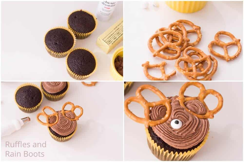 photo collage of how to make reindeer cupcakes easy christmas cupcake recipe
