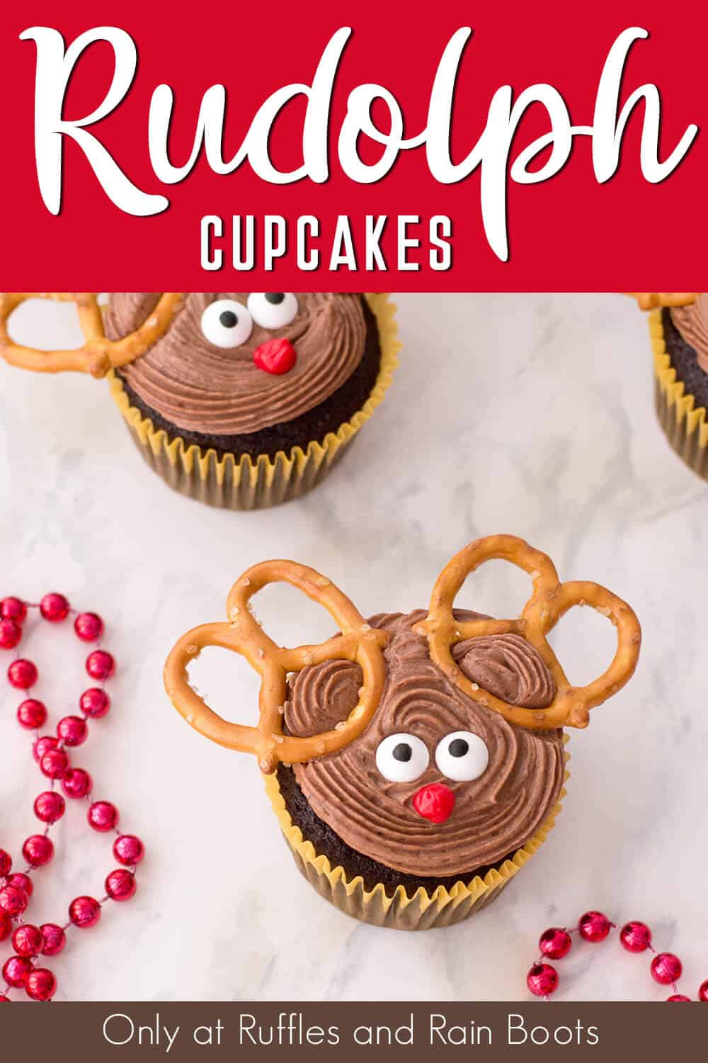 easy pretzel reindeer cupcakes with text which reads rudolph cupcakes
