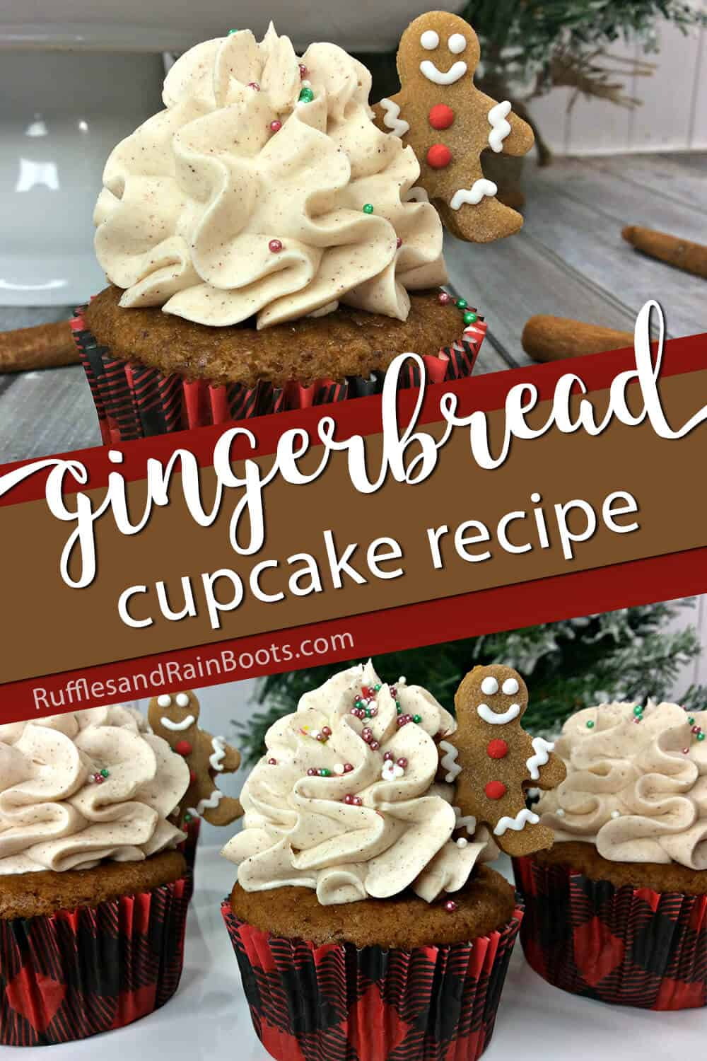 photo collage of easy cupcakes with gingerbread cookie topping with text which reads gingerbread cupcake recipes
