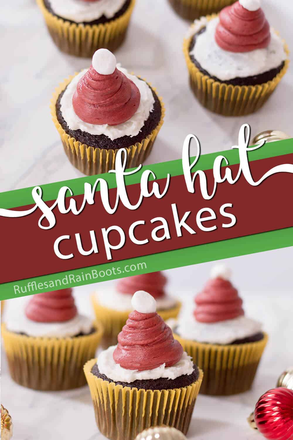 photo collage of santa cupcakes with text which reads santa hat cupcakes for christmas