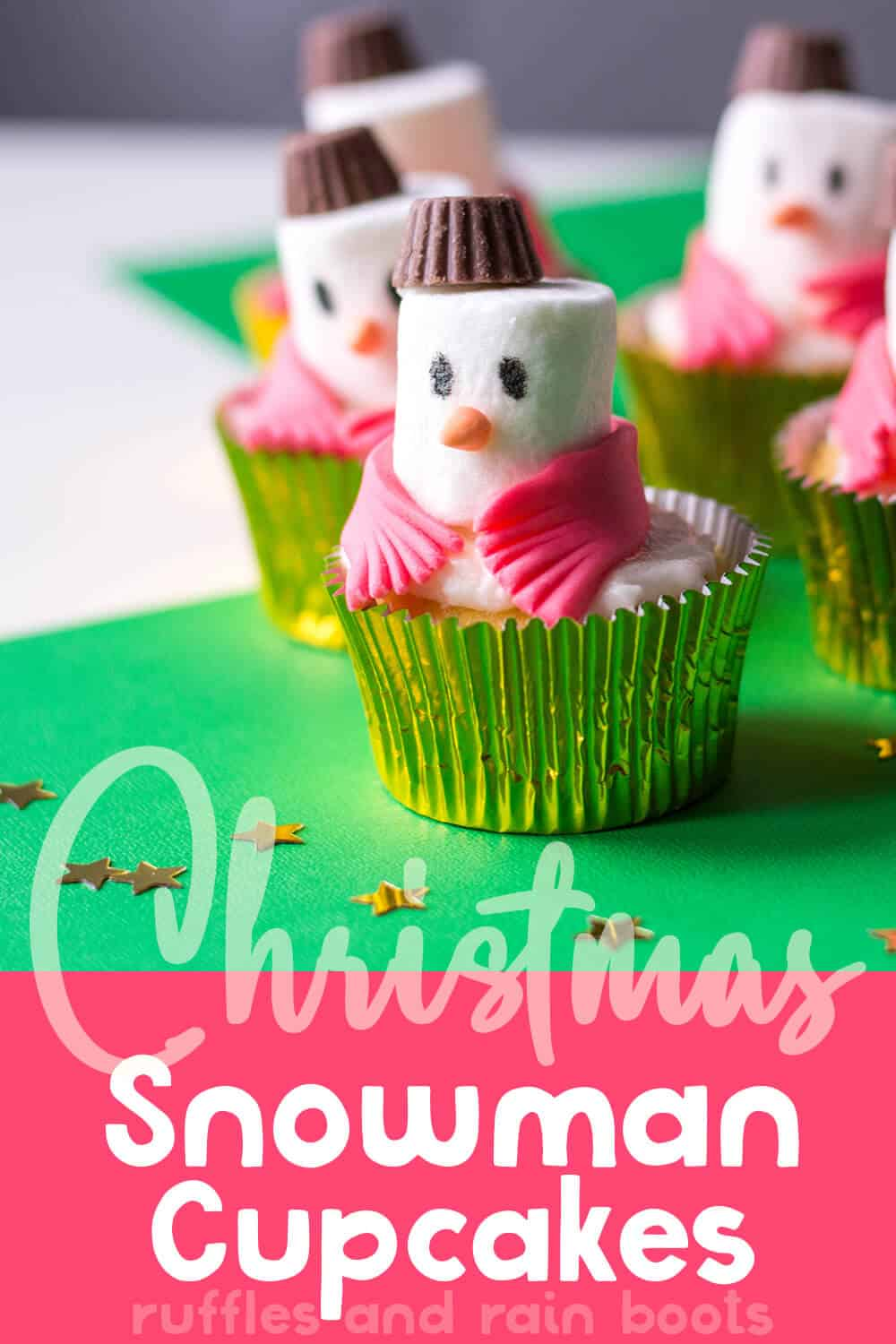 closeup of snowman scarf cupcake with text which reads christmas snowman cupcakes
