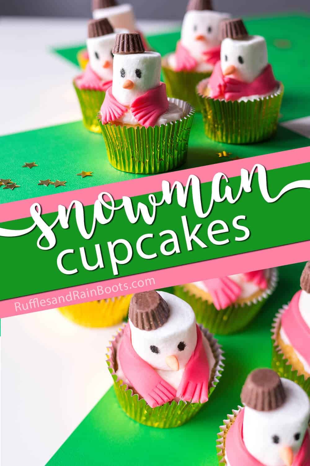 photo collage of easy cupcakes for christmas with text which reads snowman cupcakes for christmas